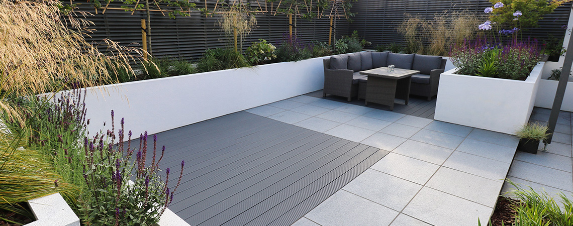 Composite deck, granite paving